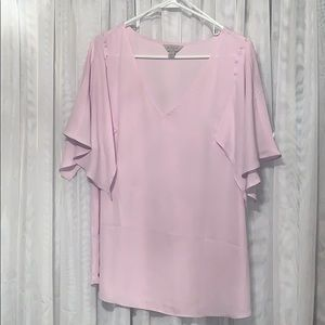 EUC Belle Sky pale pink ruffled sleeve blouse
